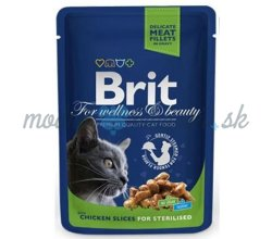 BRIT Premium cat Kapsička Sterilised Chicken Slice 100 g